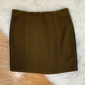 Love Riche Olive Green Mini Skirt w Faux Leather